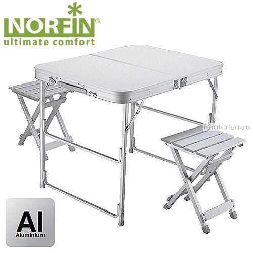 Стол складной Norfin BOREN NF алюминиевый 80x60 + 2 стула набор