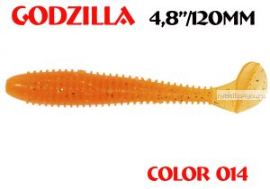 "Мягкая приманка Aiko  Godzilla 4.8"" 120мм / запах рыбы / цвет - 014  (упаковка 5шт)"