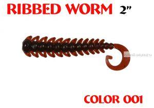 "Червь Aiko Ribbed Worm 3"" 75 мм / 1,3 гр / запах рыбы / цвет - 001 (упаковка 8 шт)"