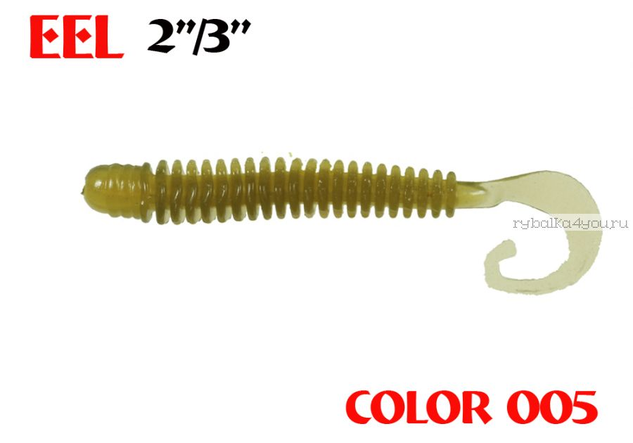 "Твистеры Aiko  Eel 3"" 75 мм / 2,2 гр / запах рыбы / цвет - 005 (упаковка 8 шт)"