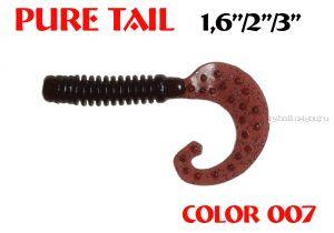 """Твистеры Aiko  Pure tail 1.6"""" 40 мм / 0,57 гр / запах рыбы / цвет - 007 (упаковка 12 шт)"""