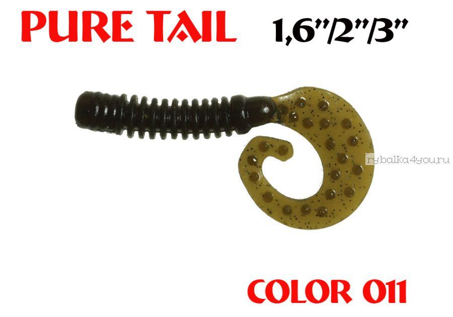 """Твистеры Aiko  Pure tail 2"""" 50 мм / 1,21 гр / запах рыбы / цвет - 011 (упаковка 10 шт)"""