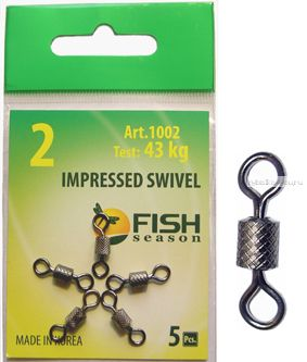 Вертлюг Fish Season Impressed Swivel цилиндрический вертлюжок с накаткой (упаковка 6 шт.)(Артикул:1002)