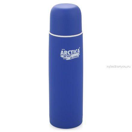 """Термос """"Арктика"""" с узким горлом 103-750К (с кнопкой, с резиновым напылением синий, 750 мл)"""