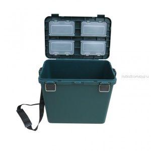 Ящик зимний односекционный, пластиковый 360х390х180/260 см 19 л, зеленый (арт.36745)