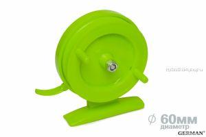 Зимняя катушка German инерционная 70 мм / Ядовито-зелёный