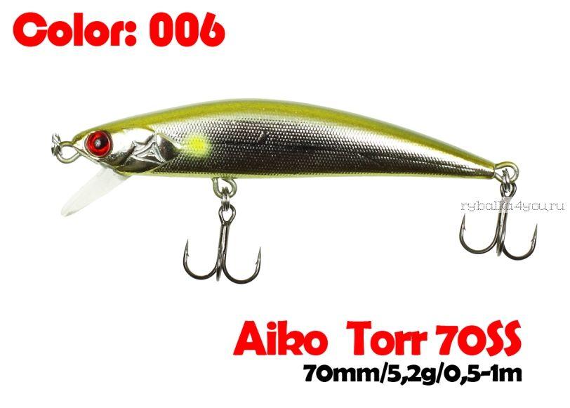 Воблер  Aiko TORR 70SS  70 мм/ 5,6 гр / 0,5-1 м / цвет - 006