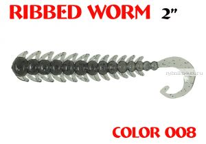 "Червь Aiko Ribbed Worm 3"" 75 мм / 1,3 гр / запах рыбы / цвет - 008 (упаковка 8 шт)"