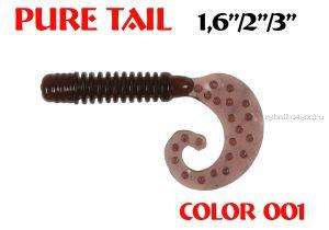 """Твистеры Aiko  Pure tail 1.6"""" 40 мм / 0,57 гр / запах рыбы / цвет - 001 (упаковка 12 шт)"""