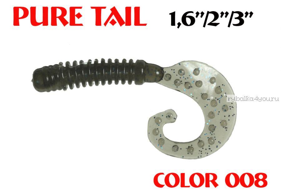 """Твистеры Aiko  Pure tail 1.6"""" 40 мм / 0,57 гр / запах рыбы / цвет - 008 (упаковка 12 шт)"""
