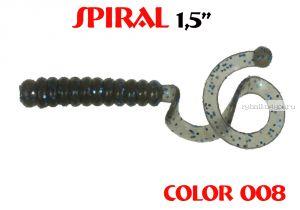 """Твистеры Aiko  Spiral 1.5"""" 25 мм / 0,62 гр / запах рыбы / цвет - 008 (упаковка 10 шт)"""