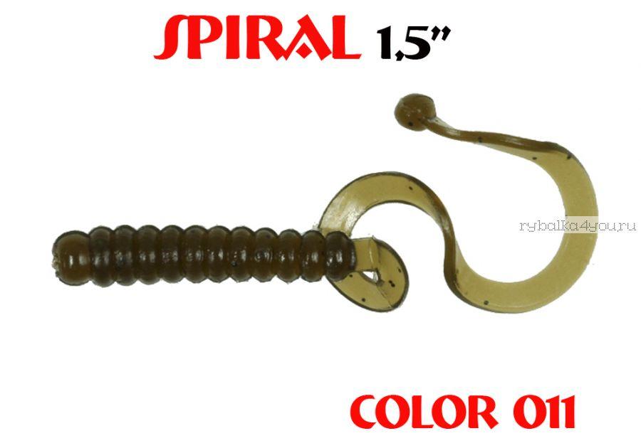 """Твистеры Aiko  Spiral 1.5"""" 25 мм / 0,62 гр / запах рыбы / цвет - 011 (упаковка 10 шт)"""