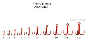 Крючки Fish Season тройник с круглым поддевом, покрытие RED(Артикул:11030 R)