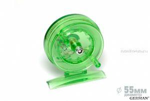Зимняя катушка German инерционная 55 мм / Зелёный